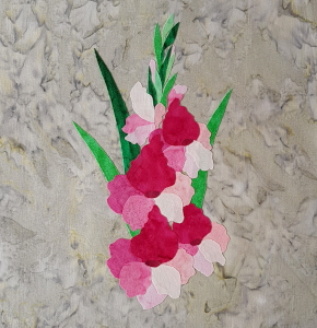 gladiolus applique fused on background