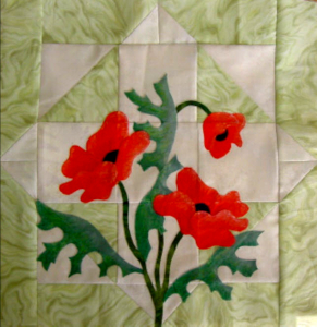 poppy block pieced