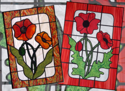 stained glass applique poppies