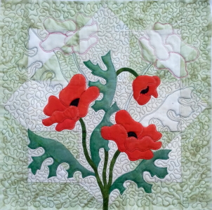 free poppy block quilted