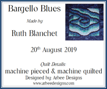 bargello blues label example