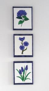 framing 8 flower blocks framed for presentation
