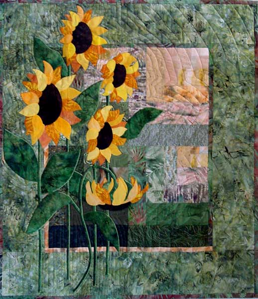 simply sunflowers applique quilt pattern