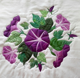 Morning Glory block applique and embroidered by Ruth Blanchet