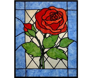 stained glass rose project as pattern or online workshop