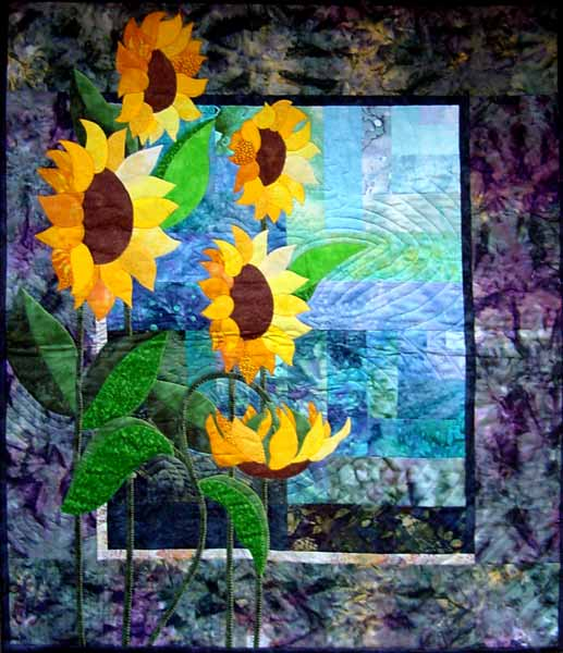 simply sunflowers applique in blues