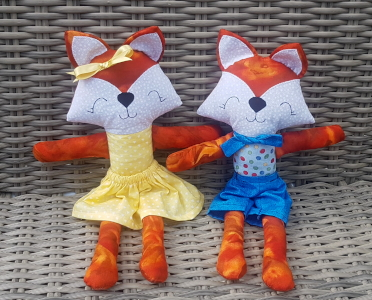 foxes made of fabric